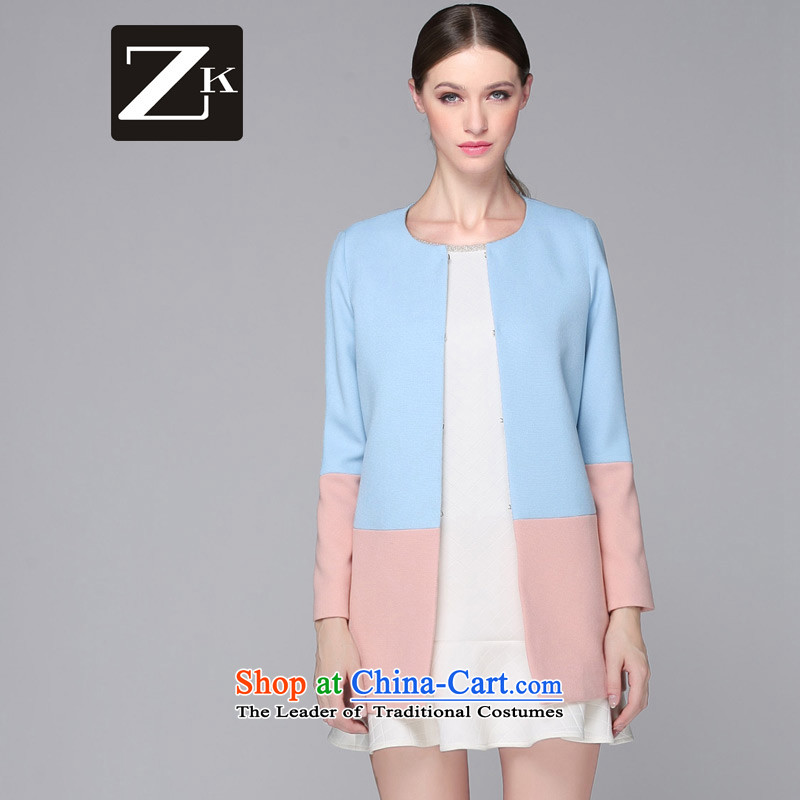Zk2015 autumn and winter clothes in the early autumn jacket? gross long autumn jackets stitching light jacket blue?S