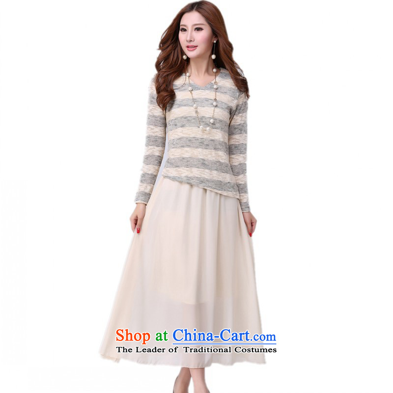C.o.d. thick people dress dresses autumn 2015 new products elegance two kits knitwear chiffon vest long skirt XL Graphics thin skirt apricot燼pproximately 155-170 4XL catty