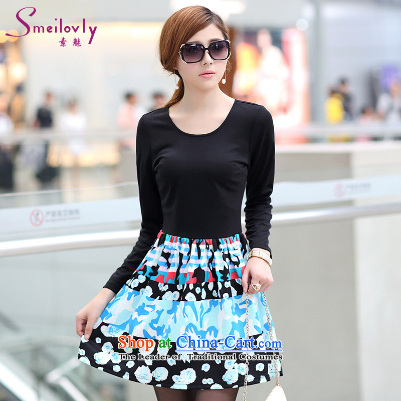 The Director of the women's code load to increase fall thick mm2015 new temperament video thin Foutune of stylish suit dress S2658  3XL black
