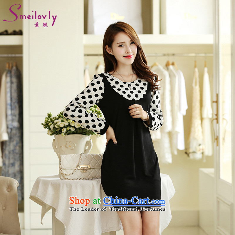 The Director of large coal 200 women to increase load fall thick mm2015 Korean Wave point video thin stylish dressesS2684 long-sleevedblack3XL