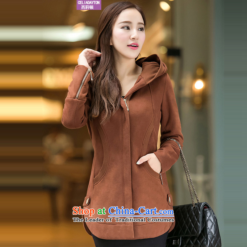 Szili Clinton larger female thick MM autumn and winter new ad to increase 2015 loose video thin thick sister 200 catties thick sweater jacket Korean燲XXXL Brown