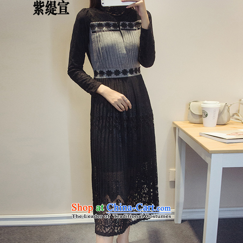 The first declared Korean economy to increase women's code load spring and autumn long-sleeved new dresses thick MM video thin lace long skirt�13_ forming the black�L paragraphs 165-175 under the burden of recommendations