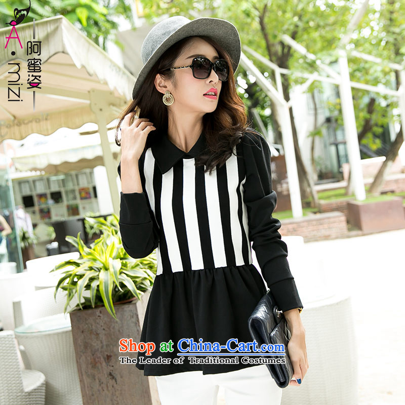 Amista Asagaya Gigi Lai Fat mm large stylish women with new black and white autumn streaks lapel long-sleeved shirt shirt women video thin _557.2 Black燲L