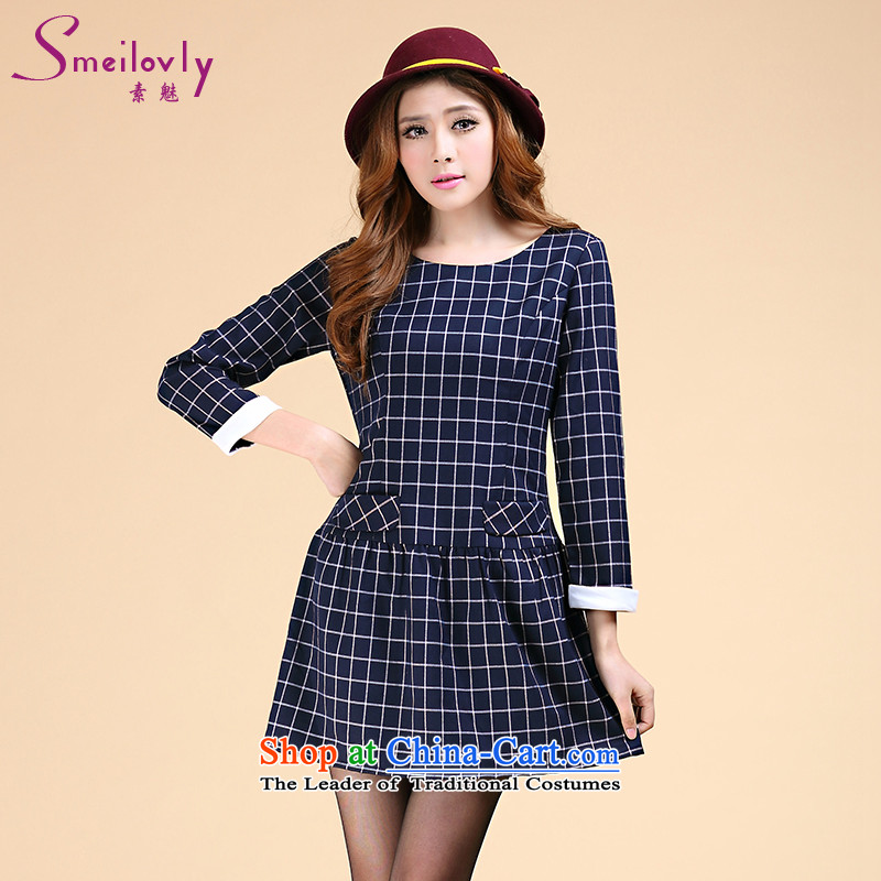 The Director of the women's extra-thick mm2014 autumn and winter load new Korean Modern British Grid Sau San video coltish waist strain the skirt�00燘lue�L