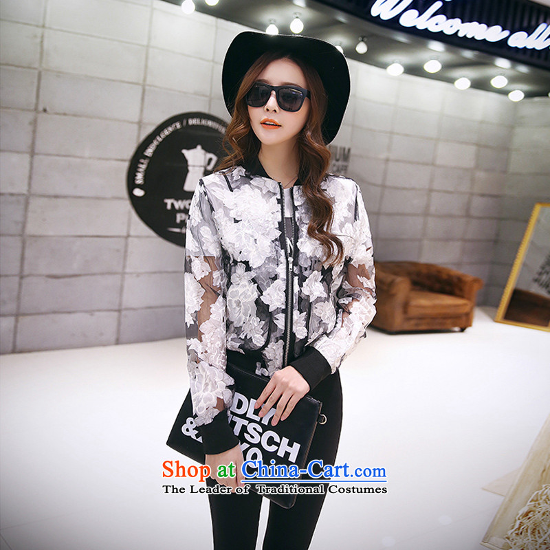 To increase the number of women in the autumn of 2015, with mm thick Korean version of the new video thin suit jacket wild long-sleeved cardigan black燲XL