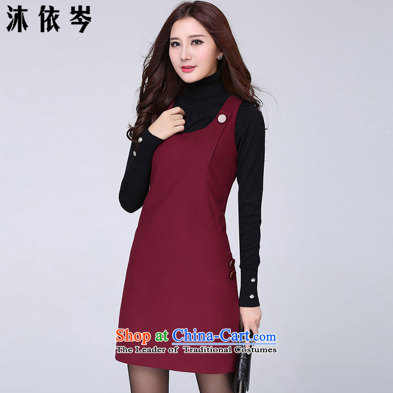 In accordance with the CEN 2015 winter bathing in the new Korean female thick MM to xl commuter temperament dresses 698_ wine red XL recommendations 115-130 catty