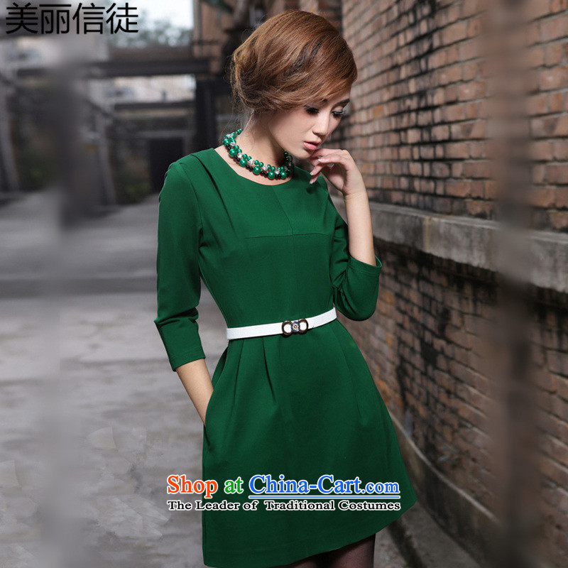 Beautiful� Spring and Autumn 2015 a new believers, western van 7 large cuff dresses Sau San female green燲L
