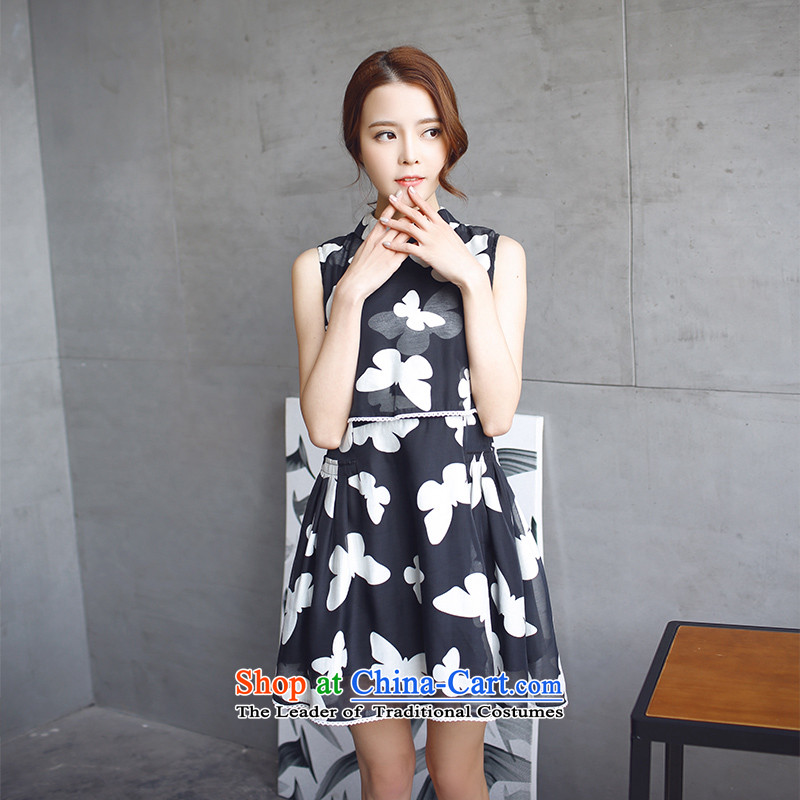 To increase the number of women in the autumn of 2015, with mm thick Korean version of the new high-sleeveless video thin dresses Sau San Black燲L