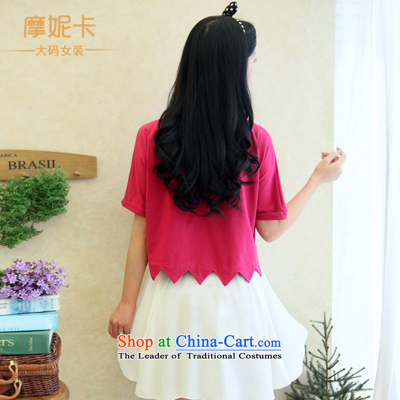 Thick sister video large thin women thick mm autumn 2014 Korean pack the new two-piece short-sleeved round collar skirt the Red + White XXXL, Moses Nika shopping on the Internet has been pressed.