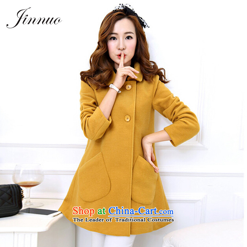 The world of Kam Yuet autumn and winter load new pockets lapel a typeface loose lovely sweet temperament gross? girls jacket coat long a Dress Shirt Connie Yellow燤