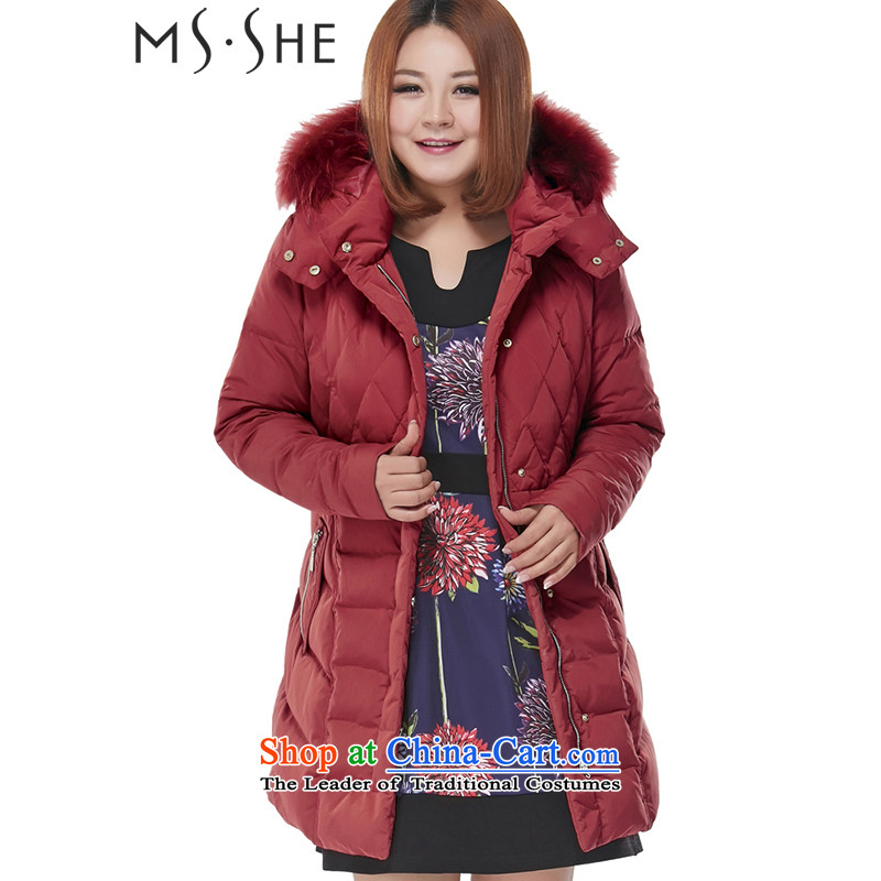 Large msshe female winter_ to XL 2015 mm thick Korean version with cap downcoat 6810 Sau San Bourdeaux4XL