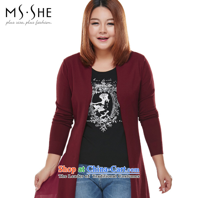 Msshe xl women 2015 autumn the new SISTER Korean thick cardigan in long jacket, dark red woolen pullover female 7,427 applicants during that month 4XL