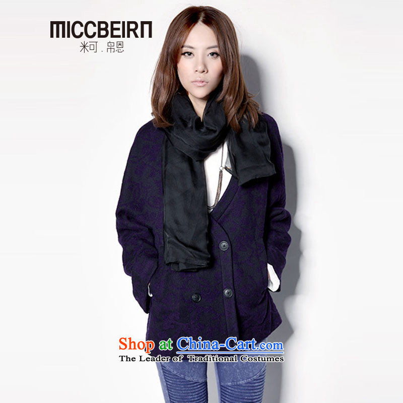 9M Tu Spring 2014 new products commuter minimalist double-blue jacket, sweater JH522 wool purple M