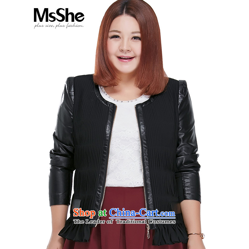 To increase the number msshe women 2015 new fall thick MM video   replace short jacket, thin leather garments 7503 Black 2XL