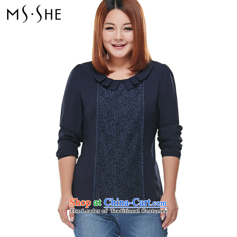 Msshe xl women 2015 Autumn New Sau San dolls collar bubble cuff chiffon shirt 7751 Blue�L
