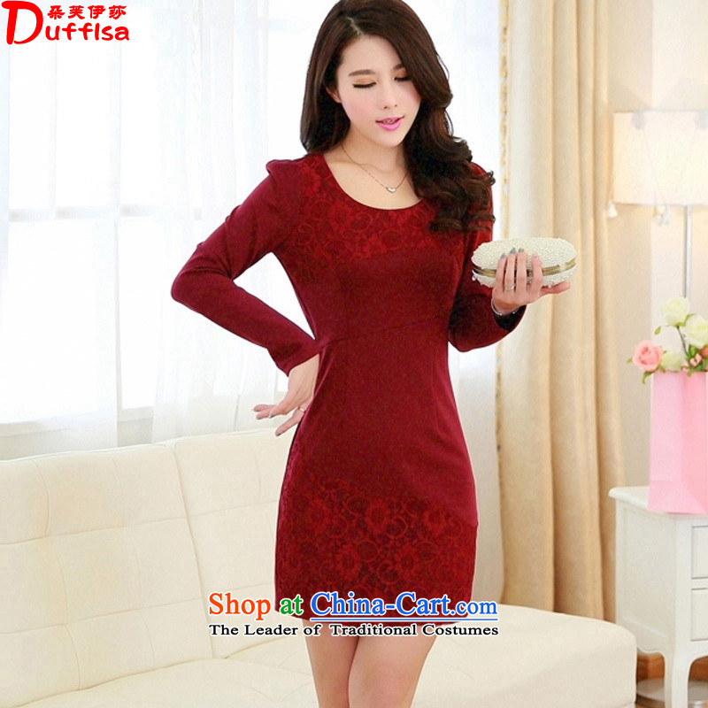 Flower to Isabelle 2015 Autumn replacing the new Korean commuter OL larger package and Sau San Antique Lace forming the dresses female D7128 dark red L