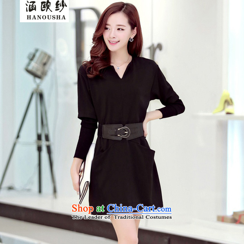 The OSCE yarn�14 Autumn covered by replacing the new liberal larger Sau San stylish dresses Wild Women Knitted cuffs skirt video thin long-sleeved black skirt燣