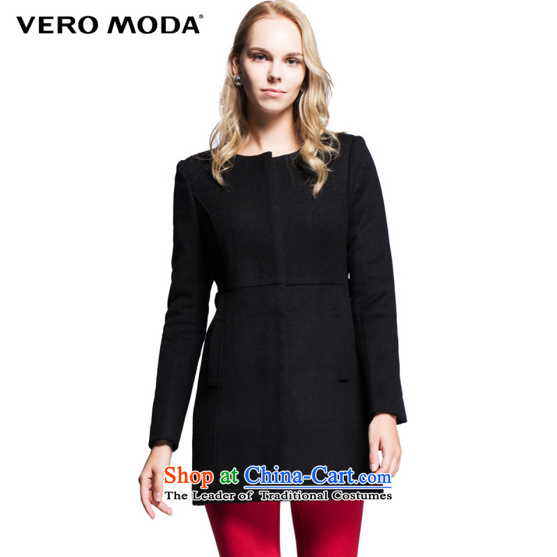 Vero moda fabric of stitching round-neck collar in long-sleeved long gross? female coats |314327035 010 Black 160_80A_S