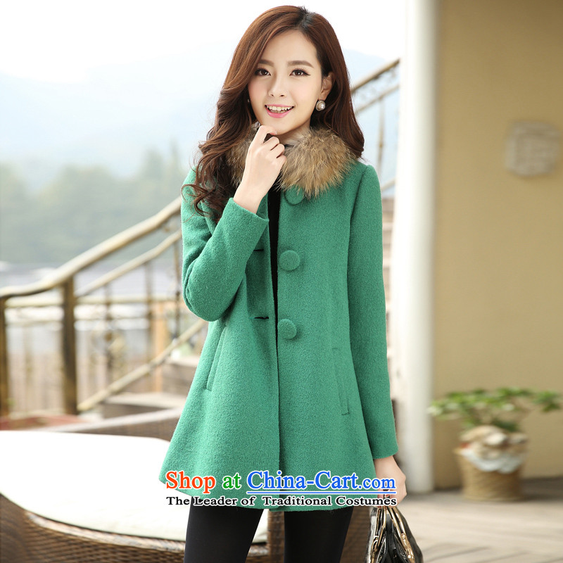 The Star Ni autumn and winter 2015 new gross? in the women's long sleeve mock Korean small wind coarse wool terylene incense for gross woolen coat jade L