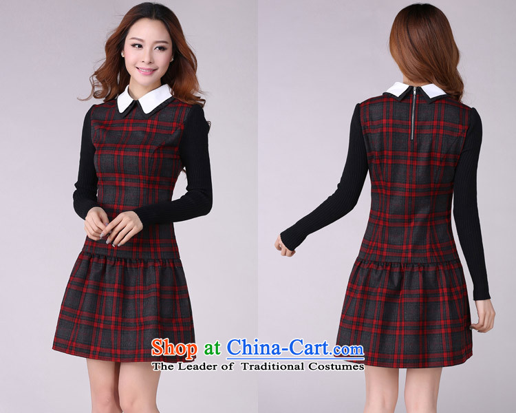 Coveted New Fall/Winter Collections retro style sub-thick sister institute to increase women's code long-sleeved dresses in red and gray gridXXXL 2,166 brassieres recommended weight around 170 pictures, prices, brand platters! The elections are supplied in the national character of distribution, so action, buy now enjoy more preferential! As soon as possible.