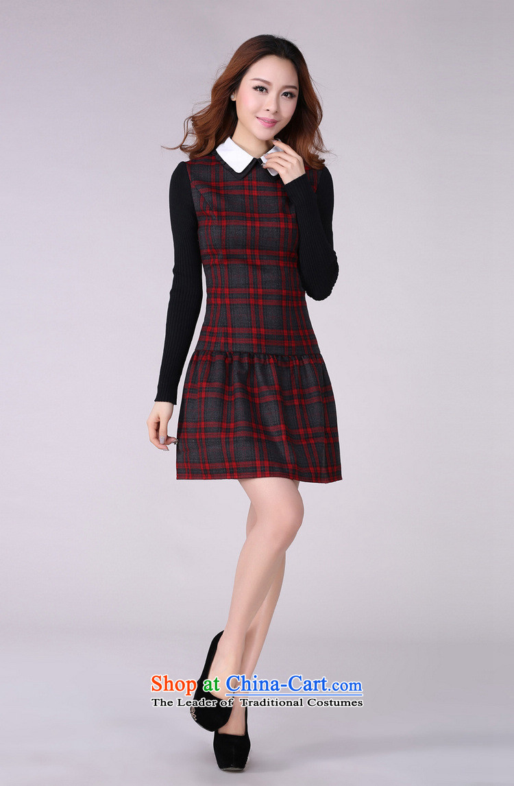 Coveted New Fall/Winter Collections retro style sub-thick sister institute to increase women's code long-sleeved dresses in red and gray grid XXXL 2,166 brassieres recommended weight around 170 pictures, prices, brand platters! The elections are supplied in the national character of distribution, so action, buy now enjoy more preferential! As soon as possible.