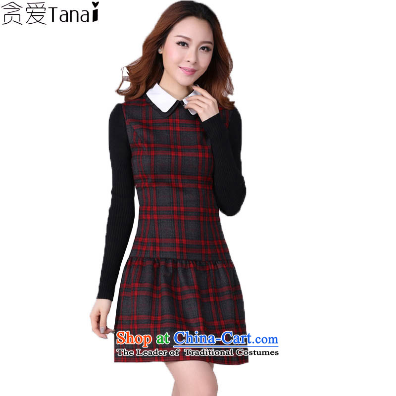 Coveted New Fall_Winter Collections retro style sub-thick sister institute to increase women's code long-sleeved dresses in red and gray grid XXXL 2,166 brassieres recommended weight around 170