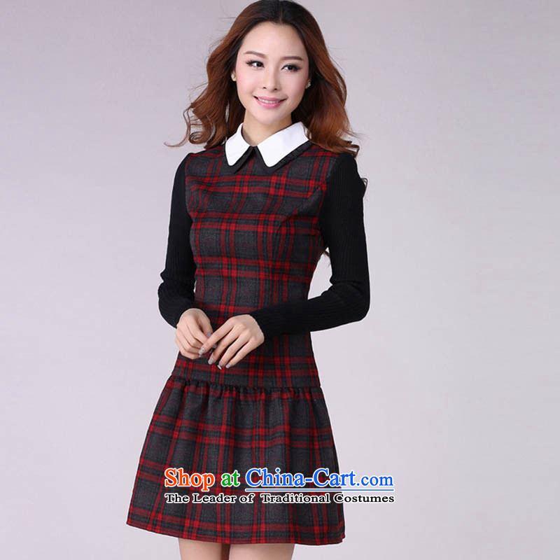 Coveted New Fall/Winter Collections retro style sub-thick sister institute to increase women's code long-sleeved dresses in red and gray grid XXXL 2,166 brassieres recommended weight of 170 percent, indulge (tanai) , , , shopping on the Internet