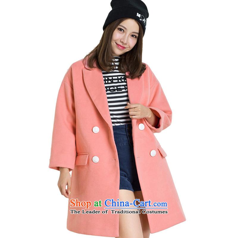 Lok-machi 2015 winter clothing new cocoon-color plane tie long coat CWAA44136 REDM