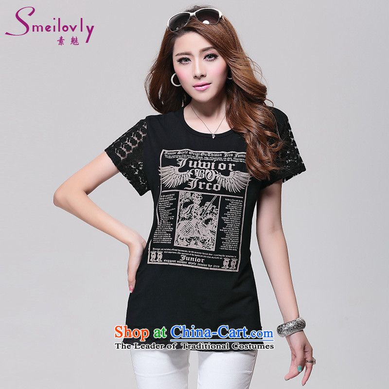 So clearly to xl female thick mm Summer 2015 Korean lace stitching thick sister video t-shirt thin cotton燬1632 short-sleeved燽lack燲L