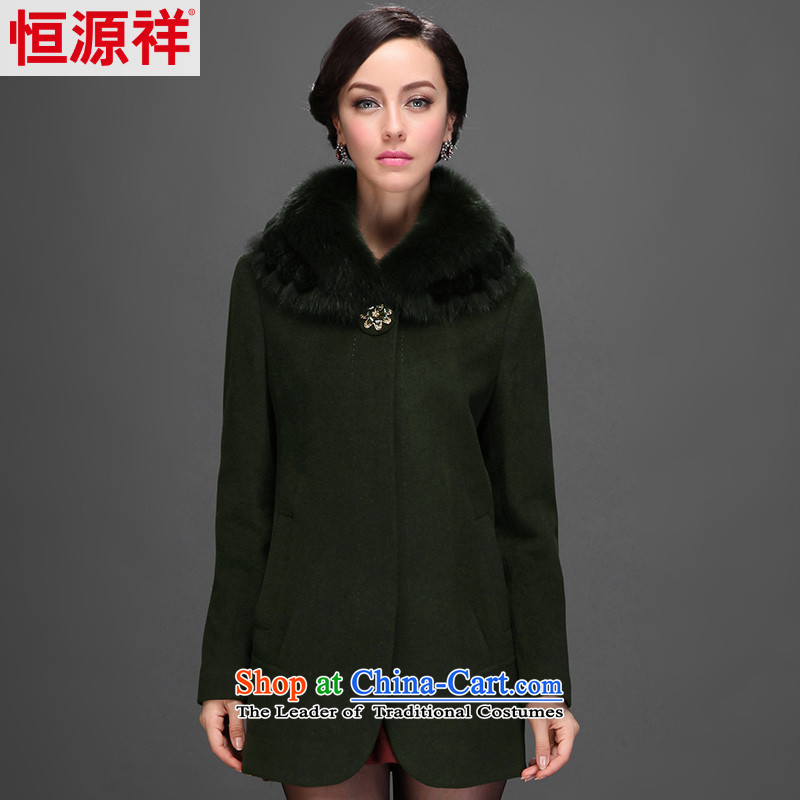 Hengyuan Cheung 2014 women in long with wool gross for a wool coat a jacket 2558th 8_ bamboo 175_96A_XXL_ green