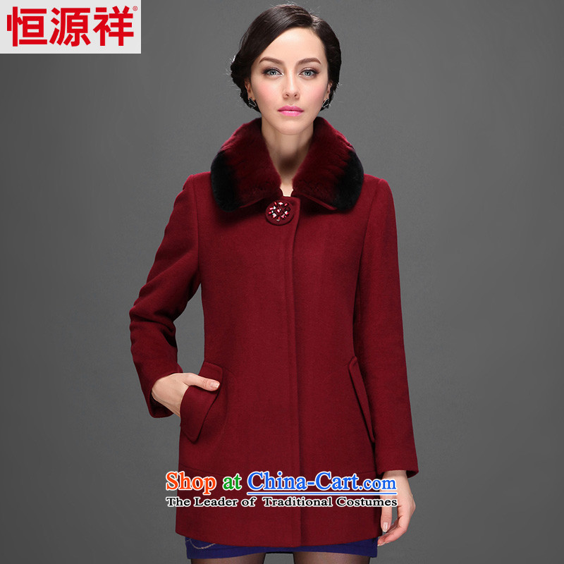 Hengyuan Cheung 2014 women in the elderly in the long-jacket gross for Connie wool coat 2554 5_? 175_96A_XXL_ chestnut horses