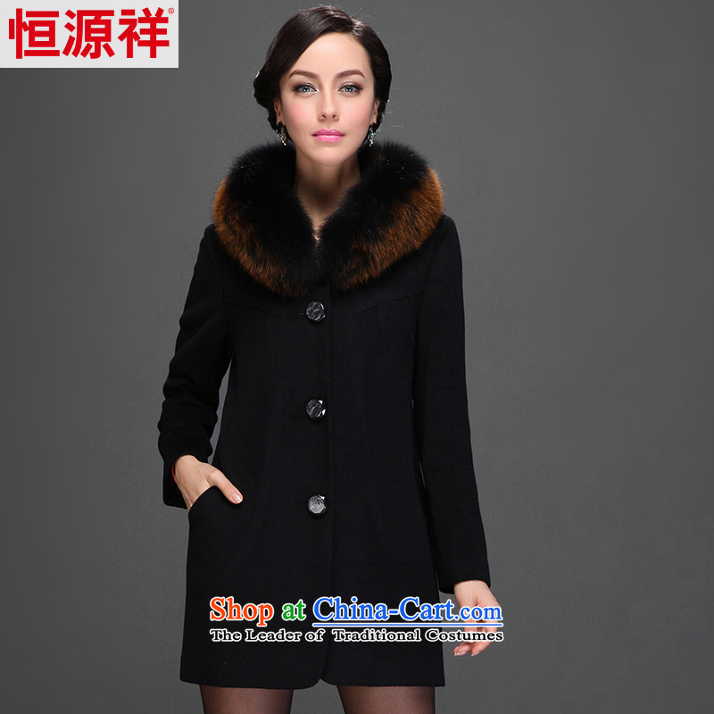 Hengyuan Cheung 2014 women in the elderly in the long hair washable wool coat? A COAT 2561 ad black� 175_96A_XXL_ 1_