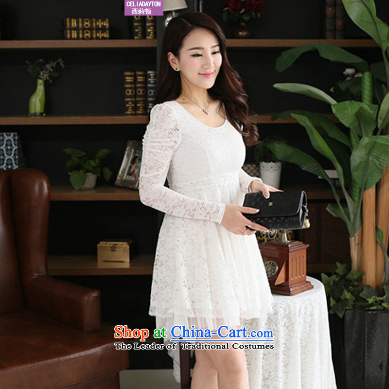 Szili Clinton large long-sleeved blouses and lace dresses autumn 2015 new expertise to increase MM Foutune of video thin temperament, forming the skirt 200 catties燲XXXL White