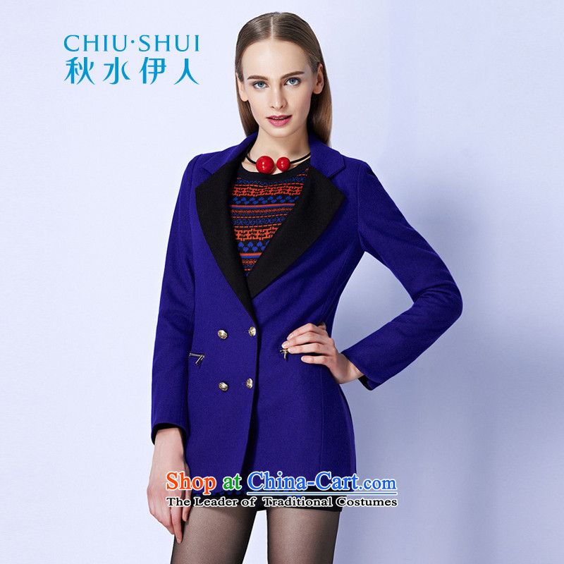 The Mai-Mai autumn load for developing new knowledge of elegant color plane collision with reverse collar wool double-coats�3S3120018牋165_L Royal Blue