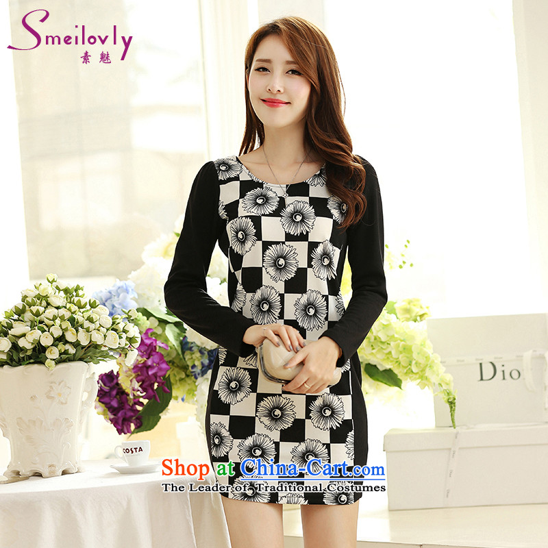So clearly to xl female mm2015 thick autumn replacing new long-sleeved latticed video dressesS2670 ThinBlackXL