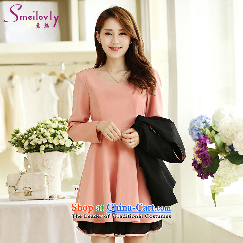 Of staff to increase the burden of 200 yards women fall thick mm2015 boxed, new Korean fashion ladies temperament long-sleeved video thin dresses S2679 pink dresses 3XL around 922.747 160