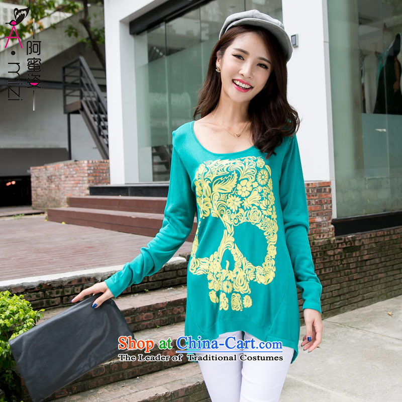 The Honey new autumn load Gigi Lai Fat mm larger female western style liberal stamp Knitted Shirt female bat long-sleeved 8706 blue-green聽XL
