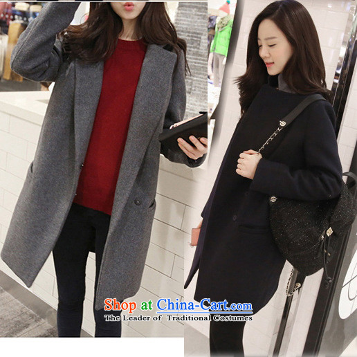 La4 for the燼utumn of 2015, New cocoon-minimalist suits the cotton long coat young daughter thick jacket cashmere gray燬-Advanced Customization