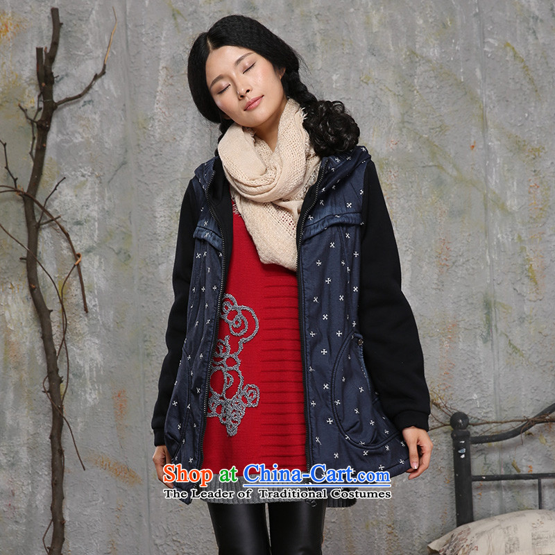 Thick trailing edge of autumn 2015 installed new women's Fat MM knitting stitching cowboy jacket short, Cap Cardigan to xl ladies casual shirt 14006 4XL, thick trailing edge of black (PANG REN YUAN) , , , shopping on the Internet
