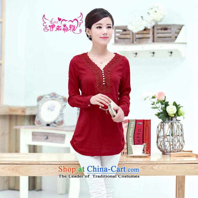 El-ju�15 Autumn Yee Nga new high-code female characteristics lace cotton linen shirt YY6283 RED燣