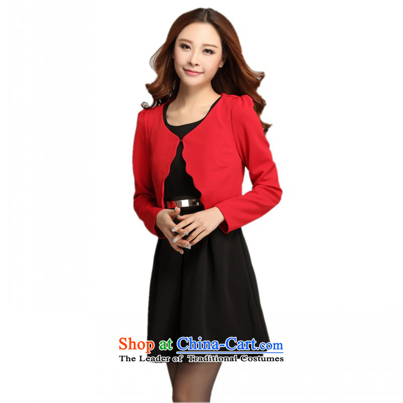 C.o.d. thick people xl women's dresses Red Shawl two kits stylish tank top forming the skirt OL commuter video thin lady skirt vocational skirts black dress?XXL?approximately 140-155 catty