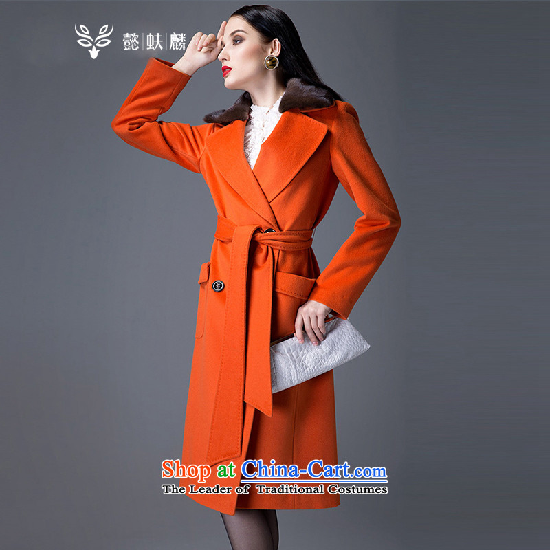 Thus Chu YFL headquarters women 2015 new autumn and winter coats female Autumn and Winter Sweater,high-end woolen coat, Water Sable Hair collar windbreaker gross coats orange M?