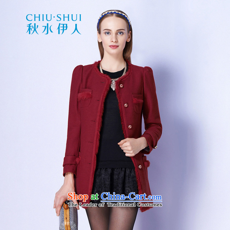Chaplain who fall inside the new women's rabbit hair stitching solid color jacket coat gross Sau San??133E3120012??170_XL rusty red