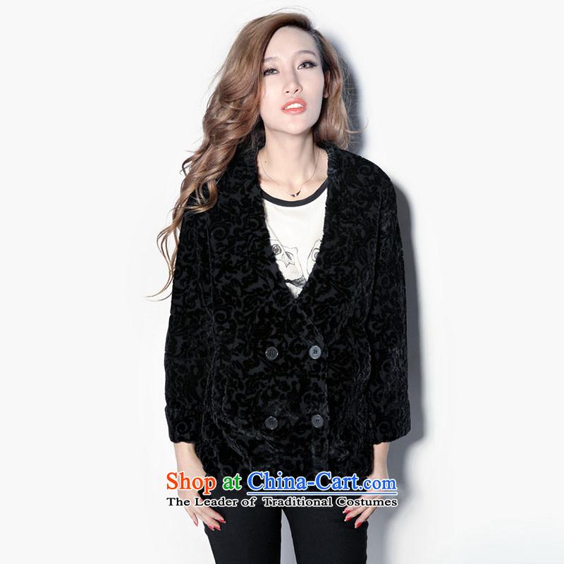 M 8N female wool jacquard retro elegant black overcoat?S