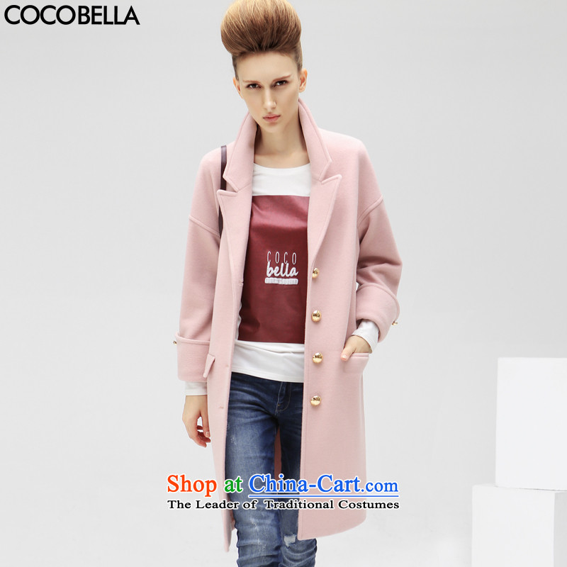 2015 Autumn and Winter Europe COCOBELLA van loose pure color long for women coats jacket female CT179 gross? rose toner燤
