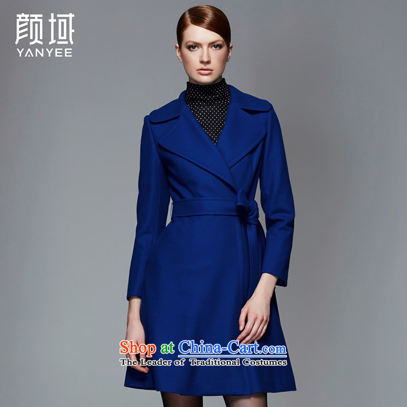 Mr NGAN domain 2015 autumn and winter new women's double-Tether long hair? jacket aristocratic know what atmospheric 04W4517 blue XL/42 Coats