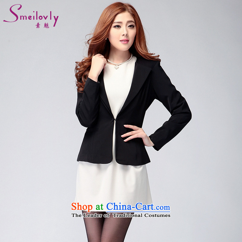 So clearly to xl female thick mm2014 autumn and winter load new Korean professional quality small business suit Sau San Women�16燘lack�L Jacket