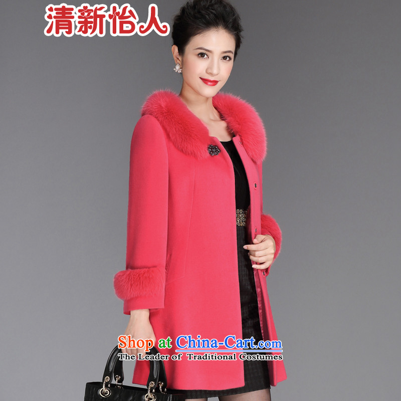 Fresh air in 2015 winter new woolen coat women can be shirked for Lotus Pink gross XXL