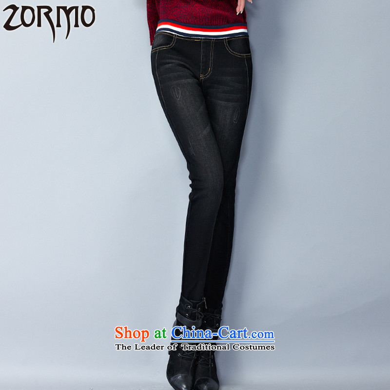 Zormo 2015 winter clothing new fat mm to xl casual pants and lint-free thick warm jeans pants燲XXL Black Denim