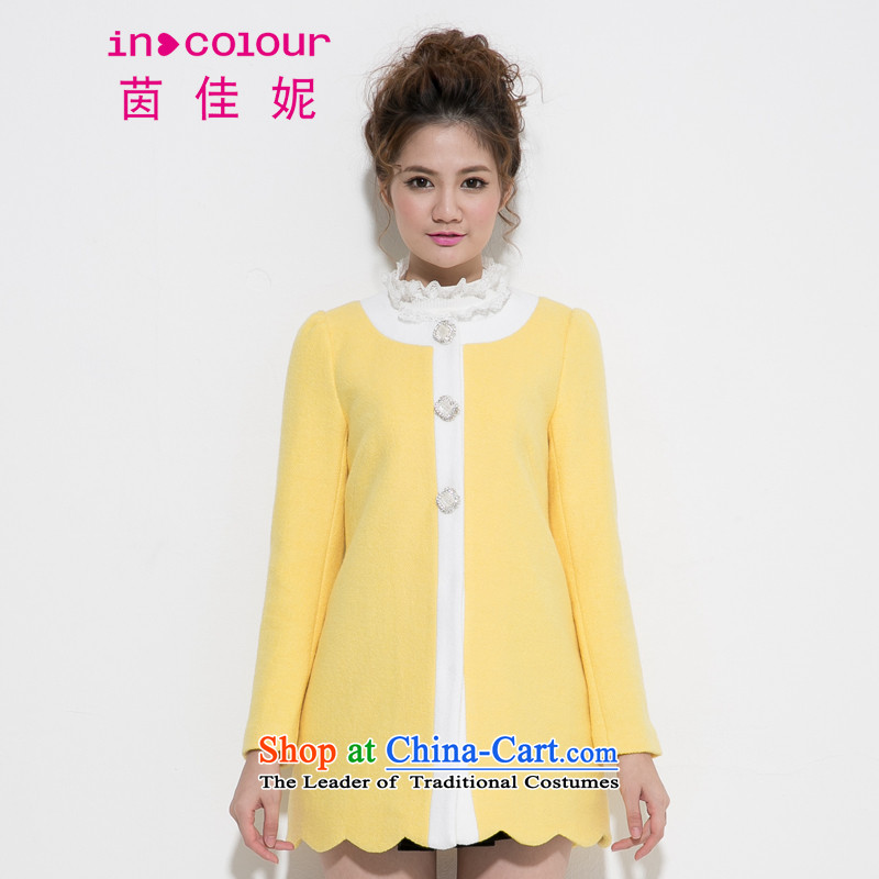 Athena Chu Jia Ni incolour new women's long college in the autumn and winter wind a wool coat 5143-1421078 turmeric燤